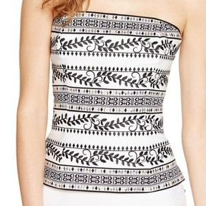 WHBM STRAPLESS EMBELLISHED PRINTED BUSTIER TOP